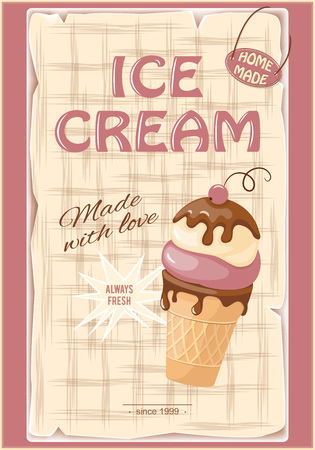 current: Vector illustration banner with current ice cream in the waffle and chokolate sauce on the vintage background.