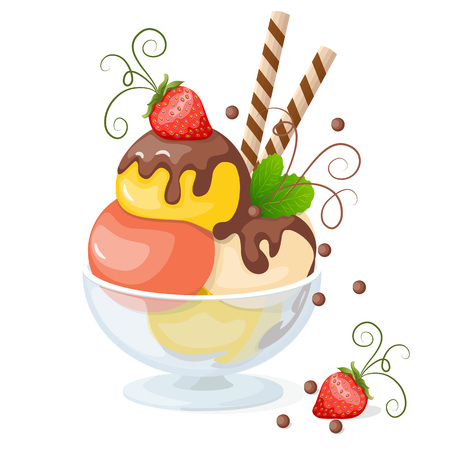 frozen glass: Vector illustration isolated ice cream or frozen yogurt in the glass bowl with strawberry on the white background. Illustration