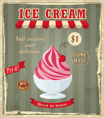 home made: Vector illustration banner with cherry frozen yogurt on the vintage background and text Best in town, Try it, Best quality, home made. Image for menu, restaurant, shop, cafeteria, ice cream parlor.