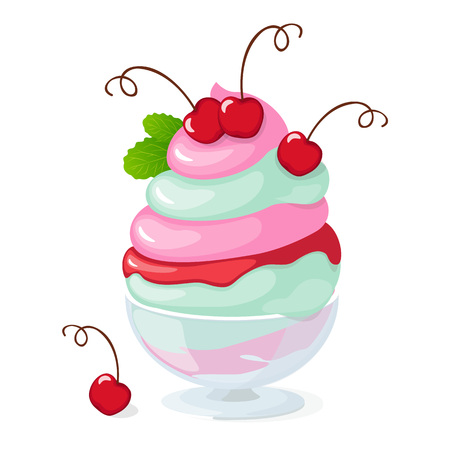 frozen glass: Vector illustration isolated cherry ice cream or frozen yogurt in the glass bowl on the white background. Illustration