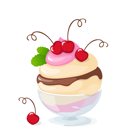 Vector illustration isolated cherry ice cream or frozen yogurt in the glass bowl on the white background. Illustration