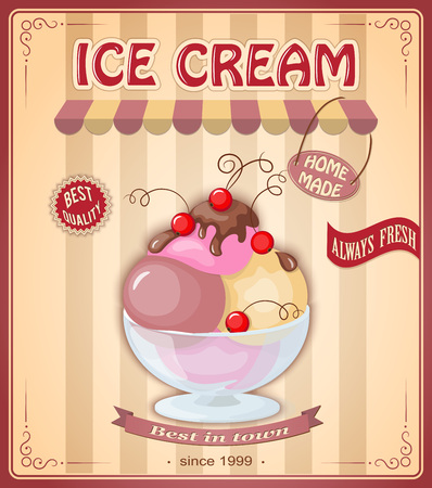 home made: Vector illustration banner with home made current ice cream in the glass bowl and chokolate sauce on the vintage background. Text home made, always fresh, bect quality, best in town. Illustration