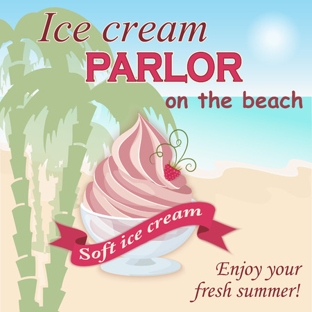 soft ice: Vector illustration banner with soft ice cream on the beach on the vintage background. Enjoy your fresh summer. Illustration