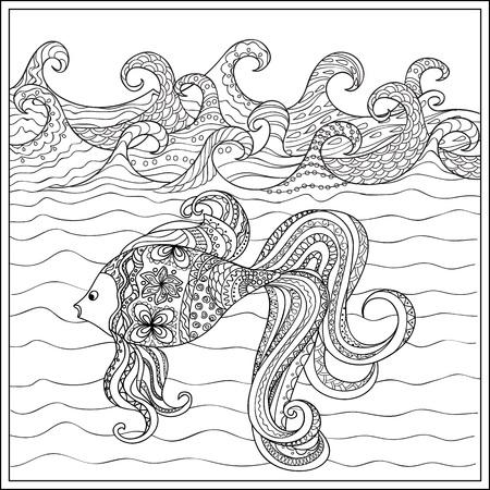 Hand Gezeichnet Dekoriert Gaviota über Dem Meer Mit Wellen. Bild Für ...