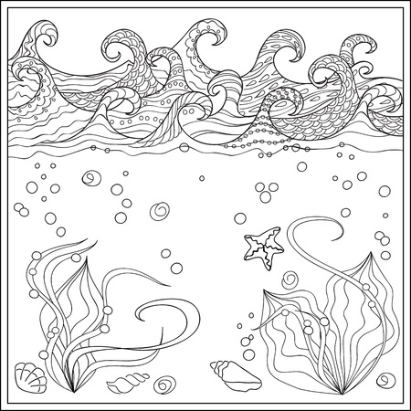 mono print: Hand drawn seashells  in the ocean with decorated waves. Image for adult and children coloring books, engraving, etching, embroidery, decorate t-shorts, tunics.