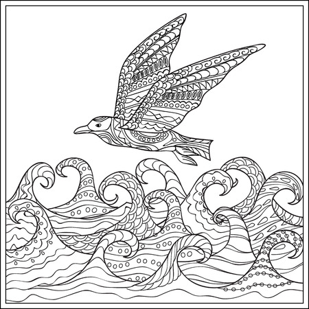 seabird: Hand drawn decorated gaviota ander the ocean with waves. Image for adult and children coloring books, engraving, etching, embroidery, decorate t-shorts, tunics. Illustration