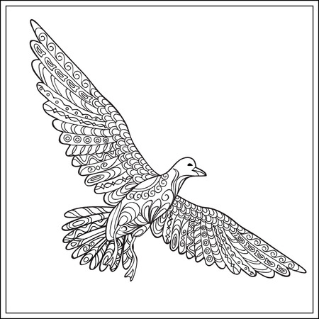 Hand drawn decorated isolated gaviota sea bird on the white background. Image for adult and children coloring books, engraving, etching, embroidery, decorate t-shorts, tunics, tattoo.