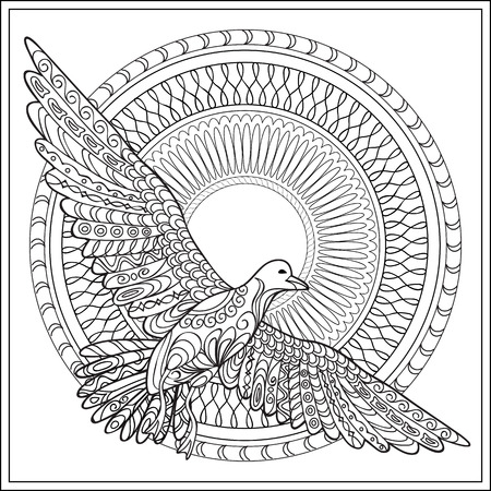 mono print: Hand drawn decorated isolated sea bird with mandala on the white background. Image for adult and children coloring books, engraving, etching, embroidery, decorate t-shorts, tunics, tattoo. Illustration
