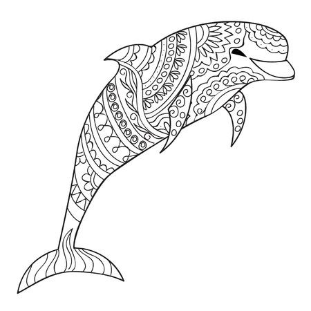Dibujado A Mano Decorada Con Delfines Aislados Mandalas En El Fondo