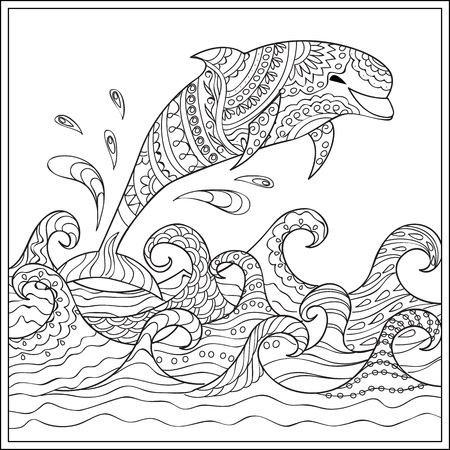 Hand drawn decorated dolphin  in the ocean with waves. Image for adult and children coloring books, engraving, etching, embroidery, decorate t-shorts, tunics.