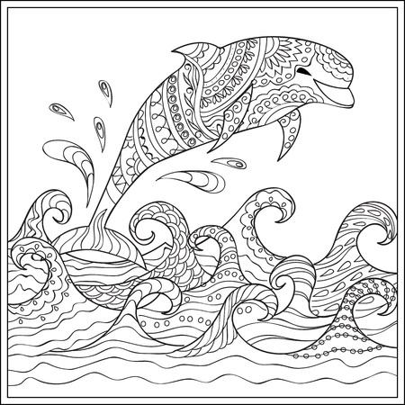 Kleurplaten Van Dolfijnen Mandala.Hand Getrokken Ingericht Geisoleerde Zeevogel Met Mandala Op De