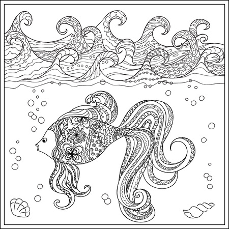 mono print: Hand drawn decorated fish in the ocean with waves. Image for adult and children coloring books, engraving, etching, embroidery, decorate t-shorts, tunics.
