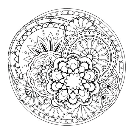 Hand drawn tangled mandalas. Image for adult  coloring books, tattoo, decorate  porcelain, ceramics, crockery, plates.