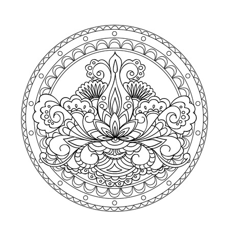 crockery: Abstract image for adult and children coloring books, tattoo,  decorate porcelain, ceramics, crockery, plates. Stock Photo