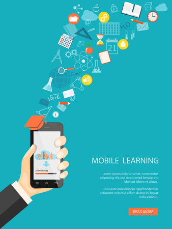 Flat modern design vector illustration concept of  online education, e-learning with mobile phone in the hand, icons and hand drawn symbols.