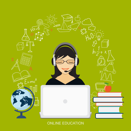 girl laptop: Flat modern design vector illustration concept of  online education, e-learning with girl, laptop, books, globe and hand drawn icons. Illustration