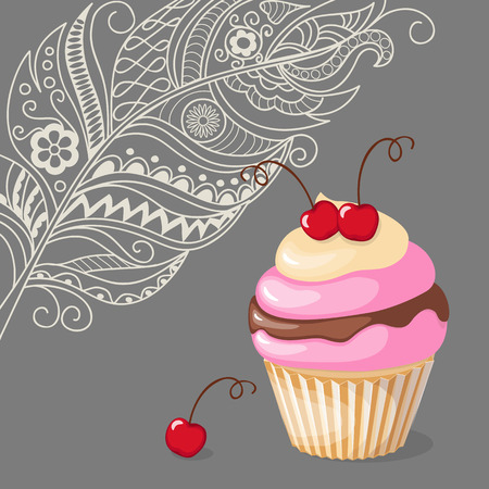 sweet treats: Vector illustration colorful cake with cherry on the vintage background in boho style. Image for restaurant, cafeteria, cafe menu, bakery, confectionery, shop, store.