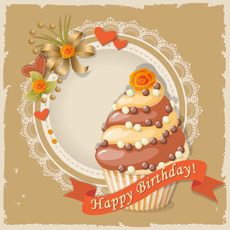 cake tier: Festive colorful scrapbooking card with birthday cake on the vintage background.