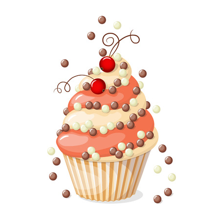 red currant: Vector illustration isolated colorful cupcake with red currant on the white background.