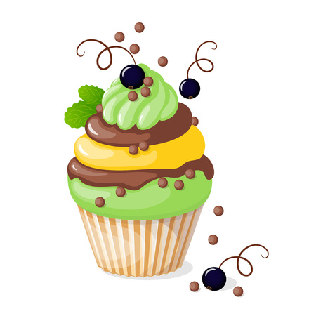 Vector illustration isolated colorful cupcake with black currant on the white background. Illustration