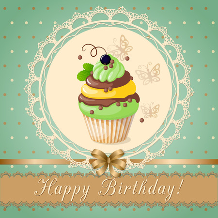 cake tier: Festive colorful scrapbooking card with text Happy  Birthday, cake on the vintage background. Illustration