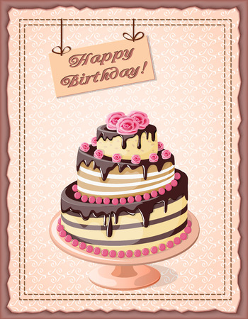 scrap: Festive colorful  birthday card on the craft paper with  cake tier, roses on the vintage background. Illustration