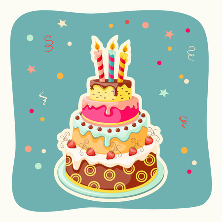 Festive colorful  card  with birthday cake tier, candle  and strawberry on the vintage background.