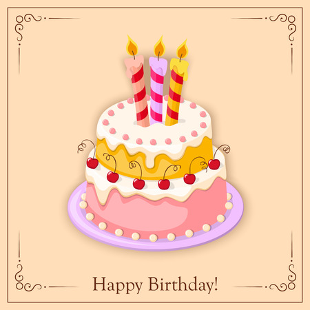 cake tier: Festive colorful  birthday card  with  cake tier, candles  and cherry on the vintage background.