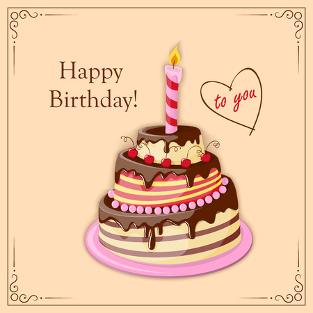 cake tier: Festive colorful  birthday card  with  cake tier, candle, text  and cherry on the vintage background.