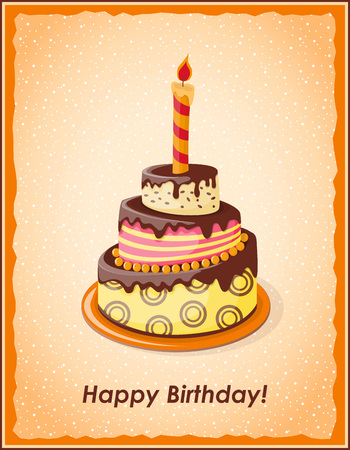 caligraphy: Festive colorful card with text Happy  Birthday, cake tier, candle on the vintage background.