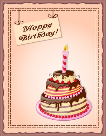 cake tier: Festive colorful card with text Happy  Birthday, cake tier,  candle, cherry on the vintage background.
