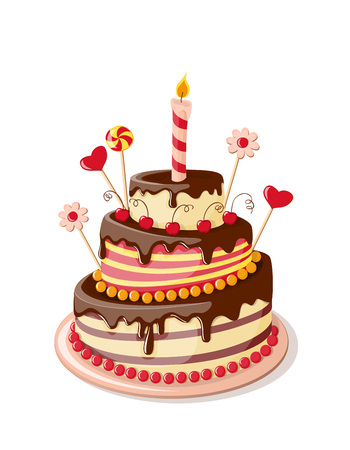 Festive colorful isolated cake tier with candle, hearts and flowers on the white background.