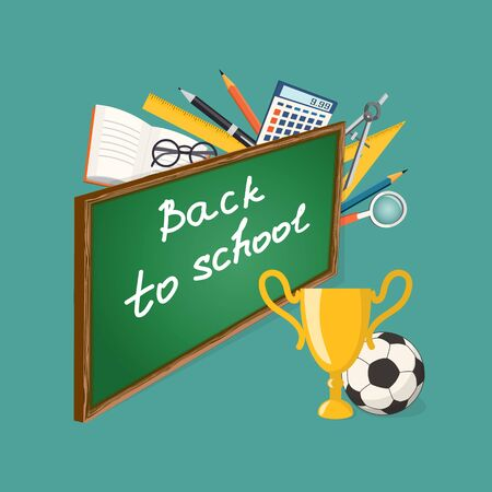 high school sports: Modern isometric concept for education time with text Back to school on the blackboard, winner cup, football ball and colorful icons  on the turquoise background