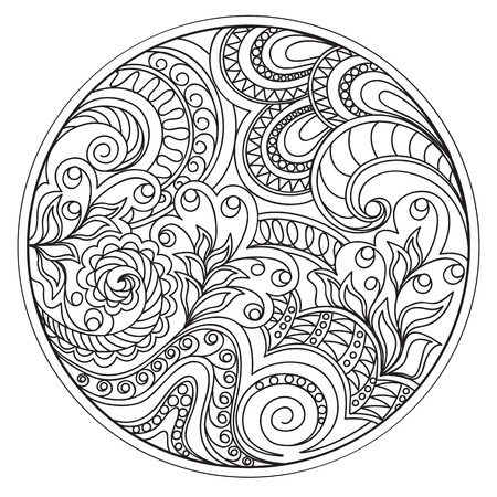 Hand drawn tangled flowers and tracery  in the circle. Arabic, Indian, ottoman, tribal motifs. Image for adult coloring books,  decorate plates, porcelain, ceramics, crockery. Stock Illustratie