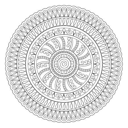 crockery: Mandala with hand drawn elements.  Islam, Arabic, Indian, turkish, pakistan, chinese, ottoman, tribal motifs. Image for adult coloring books, tattoo, decorate plates, porcelain, ceramics, crockery.