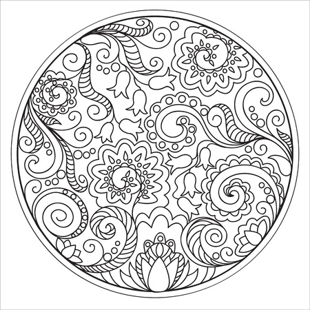 Hand drawn tangled flowers in the circle. Image for adult coloring books,  decorate plates, porcelain, ceramics, crockery. 일러스트