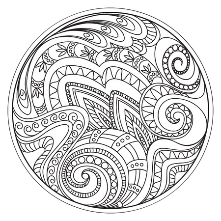 crockery: Hand drawn tangled tracery  in the circle. Arabic, Indian, ottoman, tribal motifs. Image for adult coloring books,  decorate plates, porcelain, ceramics, crockery. Illustration