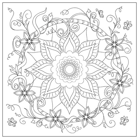 crockery: Hand drawn tangled flowers and butterflies in the circle. Image for adult coloring books,  decorate plates, porcelain, ceramics, crockery. eps 10