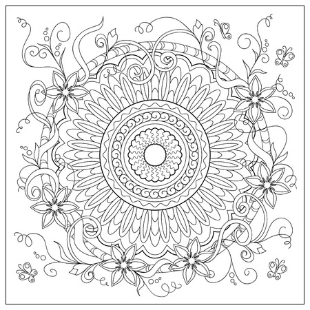 Hand drawn tangled flowers and mandala in the circle. Image for adult coloring books,  decorate plates, porcelain, ceramics, crockery. eps 10
