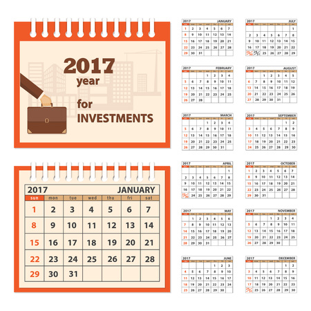 10 12: Business calendar for desk on 2017 year. Set of the 12 month isolated pages with image on the cover. Week starts on Sunday. eps 10