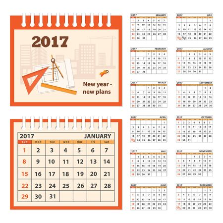 62063203 business calendar for desk on 2017 year set of the 12 month isolated pages with image on the cover week starts on sunday eps 10