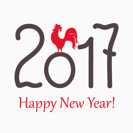 happy new year banner: New year`s banner with symbol of the year 2017 red rooster and  text Happy New Year 2017, isolated on white. Design for cover calendar new year 2017.