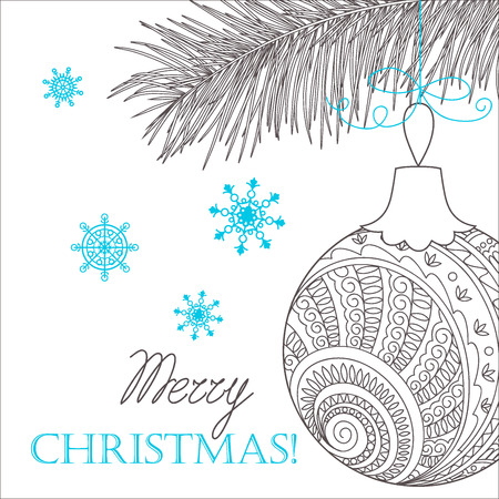 a sprig: Festive card with Christmas sprig, ball decorated hand drawn doodle tangled flowers and snowflake, isolated on the white and text Merry Christmas. Image can be used for adult coloring books.