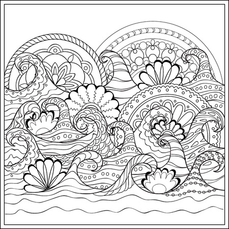 mono print: Hand drawn mandalas  in the ocean with decorated waves. Image for adult and children coloring books, engraving, etching, embroidery, decorate t-shorts, tunics.