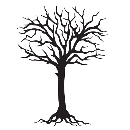 sprig: hand drawn black silhouette tree with roots. Image for learn, education, school books, tutorials. eps 10.