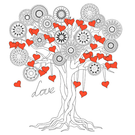hand drawn decorated tree of love in boho ethnic style. Image for valentine day card, antistress adult coloring book, decorate bags, tunics, dress.