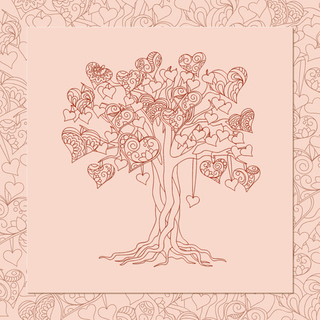 tree: Romantic card for Valentine`s Day, save the date, invitation, wedding  with hand drawn ornamental hearts on the tree. Illustration