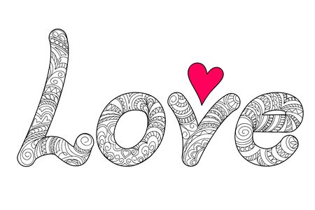 Hand drawn ornamental calligraphical word Love in zen style, isolated on white background. Print for decorate romantic holidays, wedding, t-shirt, tunic, bag, home, cards, packing present.