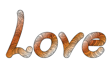 Hand drawn ornamental calligraphical word Love in zen style, isolated on white background. Print for decorate romantic holidays, wedding, t-shirt, tunic, bag, home, cards, present.