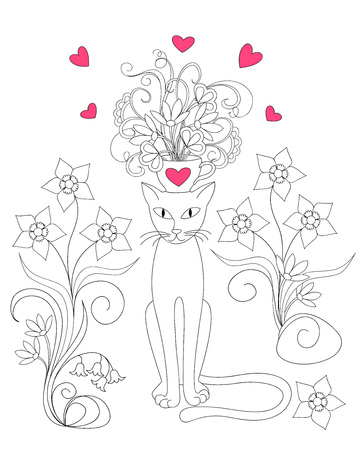 Cartoon cat with cup, flowers and hearts for Valentine greeting card, invitation, wedding, romantic holiday, for adult and child coloring book.
